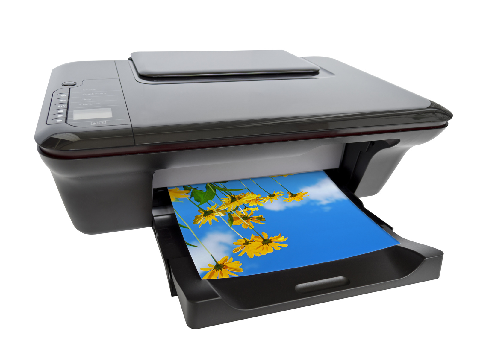Color printer isolated on white