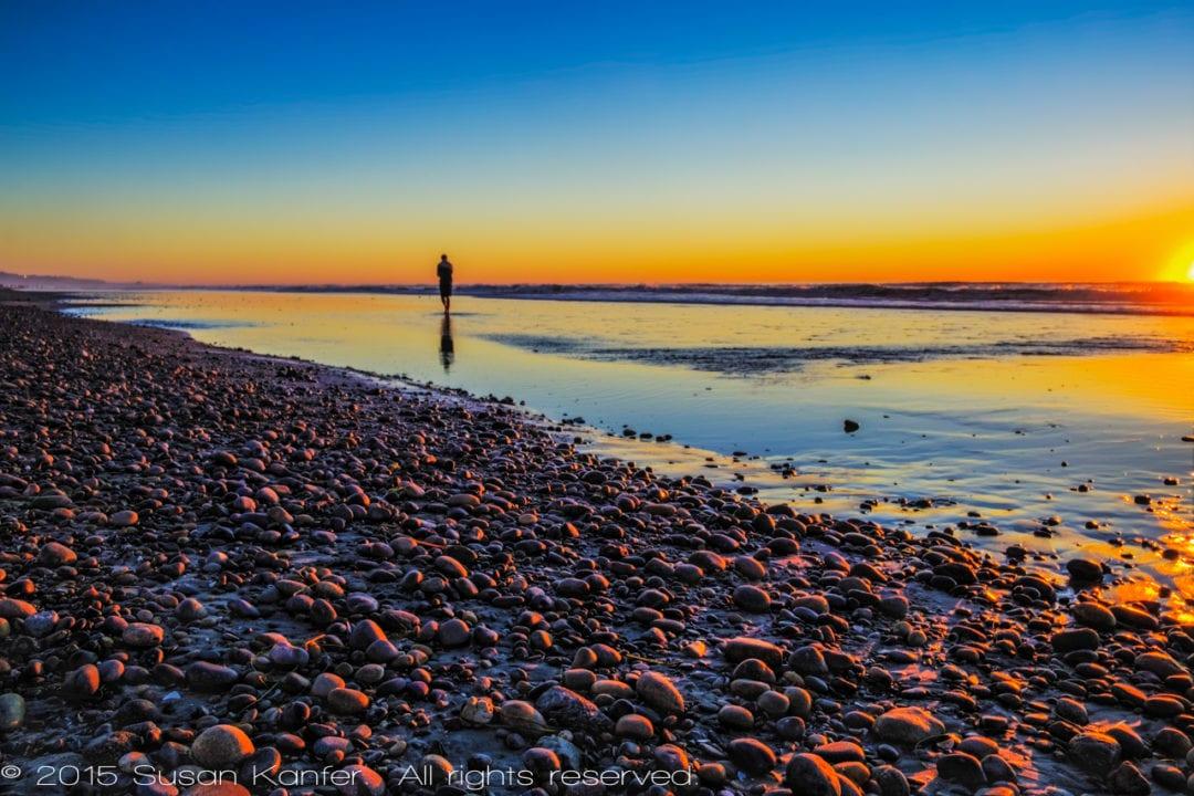 Beach Walking at Sunset