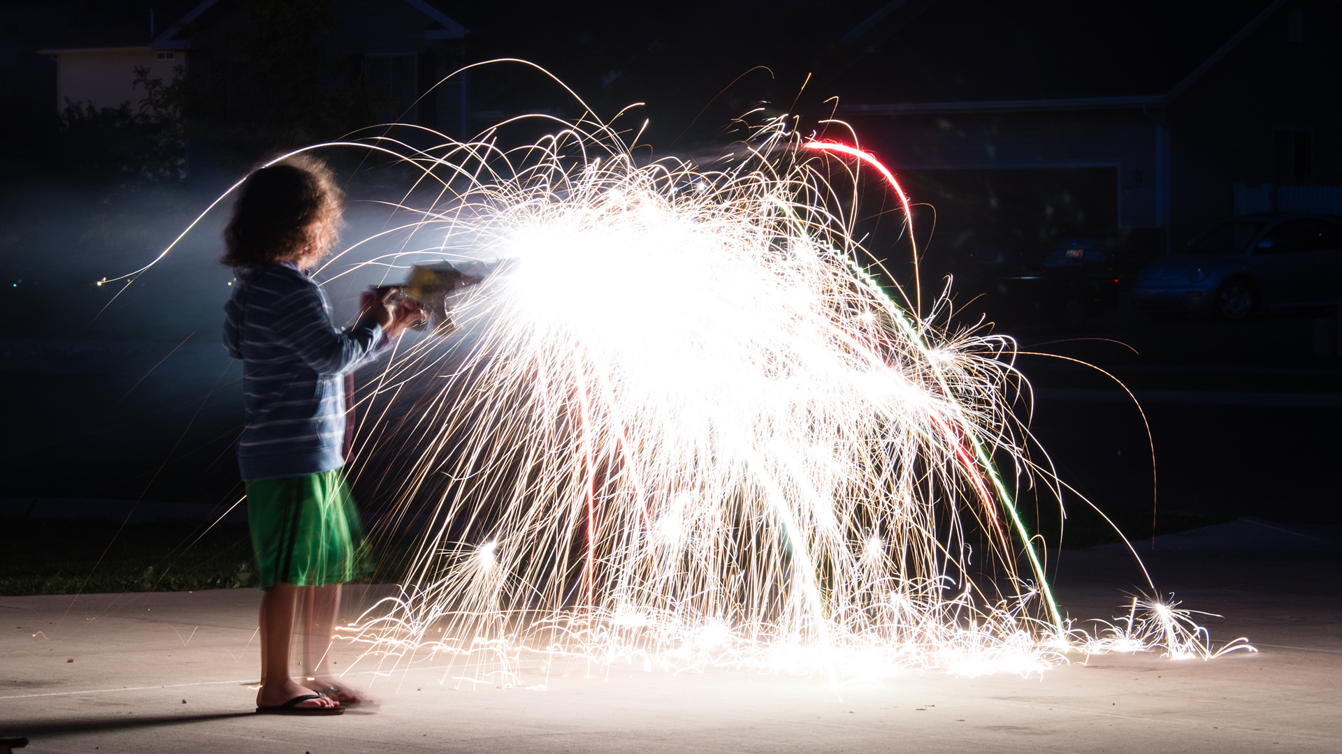 Kids with sparklers is a great way to test exposure before the big fireworks display