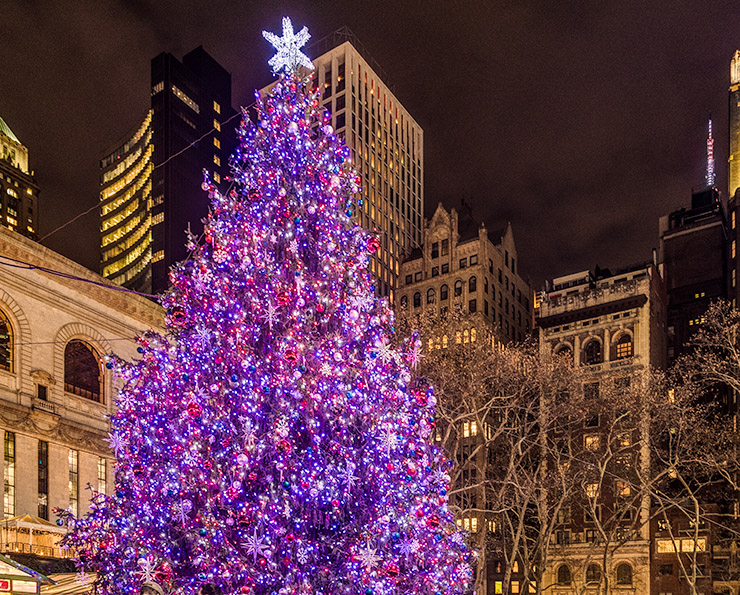 The holiday tree at the Bryan Park Market in New York City glows against the skyline.