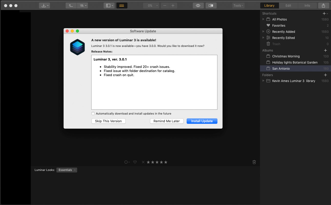 The update dialog in Luminar 3