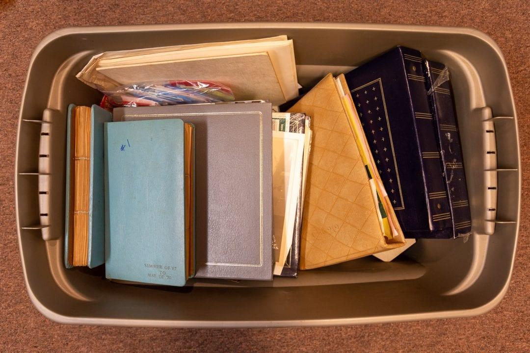 photo albums in bin