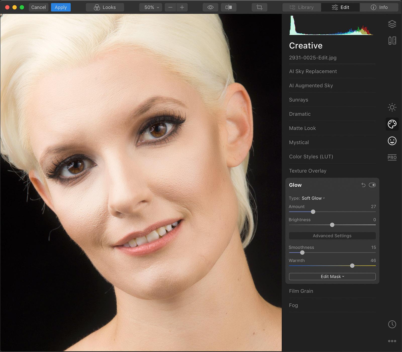 Batch processing portrait session
