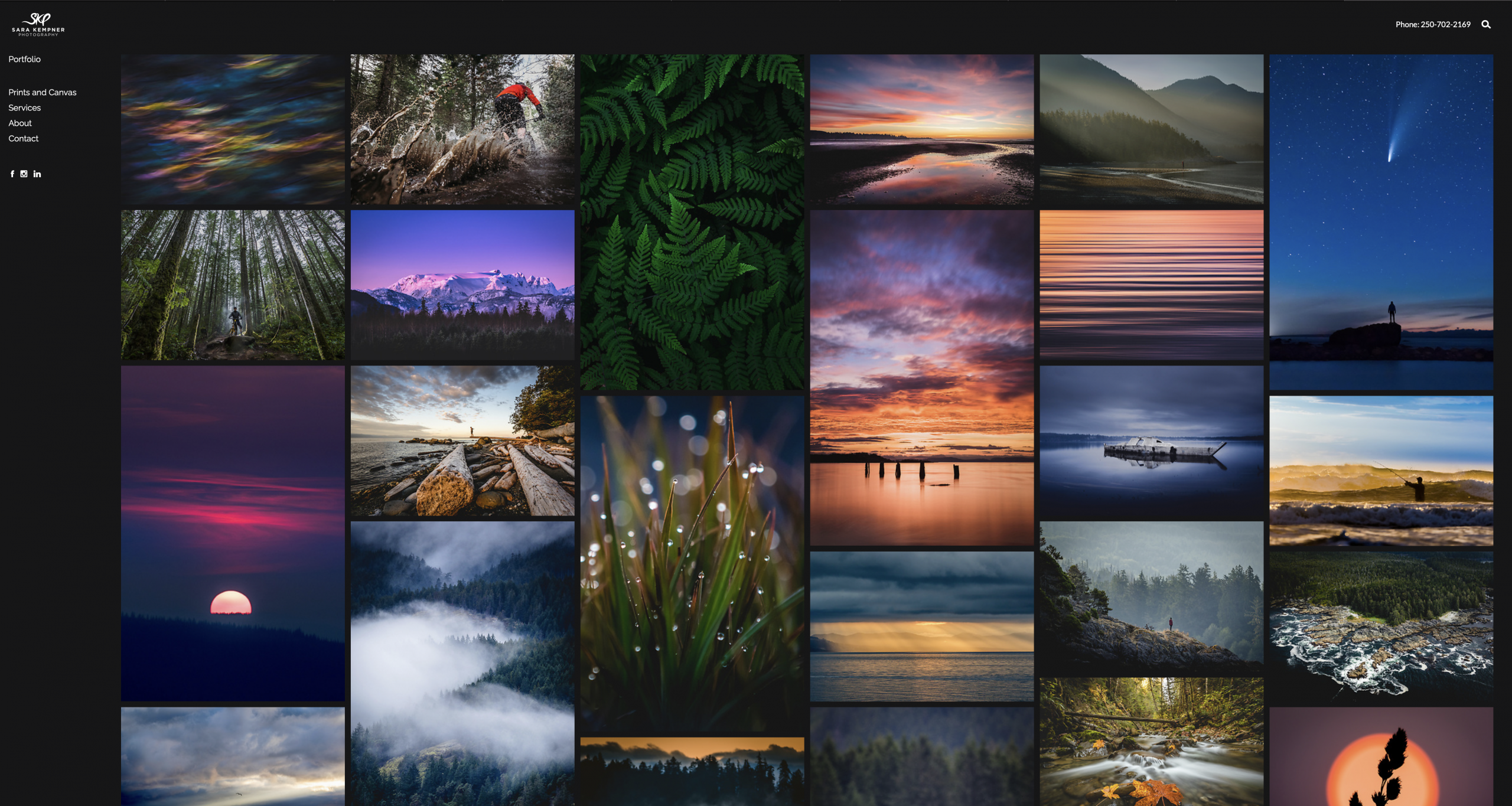 I chose the East template as my home landing page for my photography portfolio. There are five other templates to choose from as well.