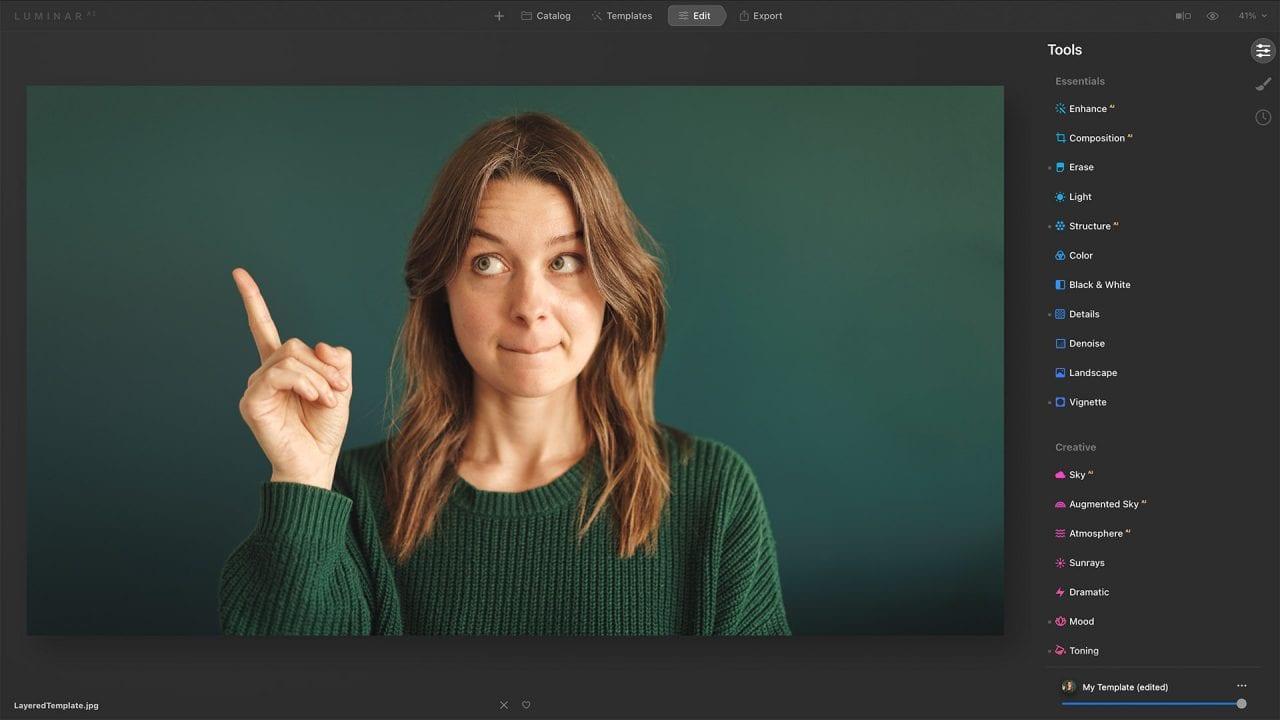 Luminar AI workspace portrait