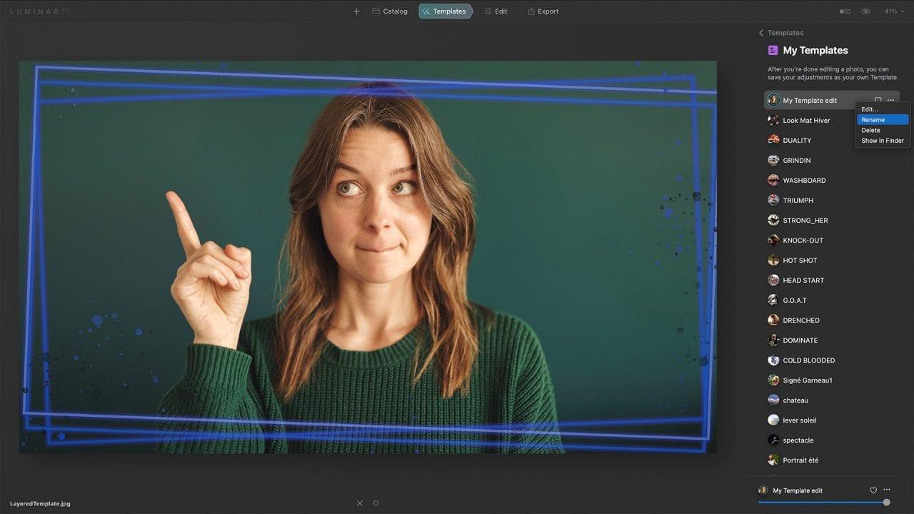 cool template female portrait Luminar AI