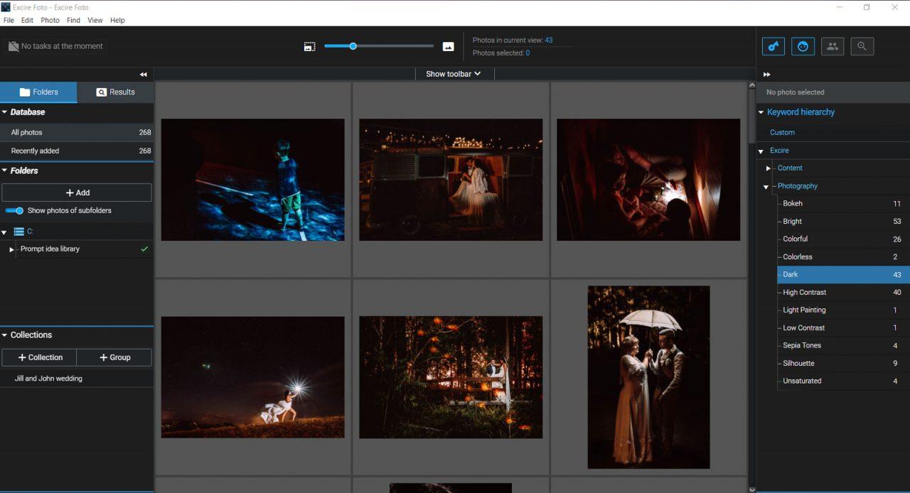 Screenshot of Excire Foto keyword dark