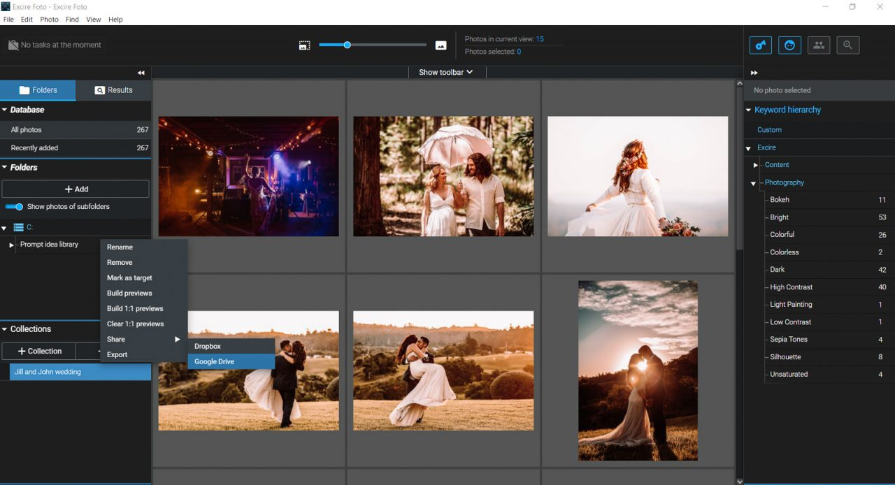 Screenshot of Excire Foto share submenu
