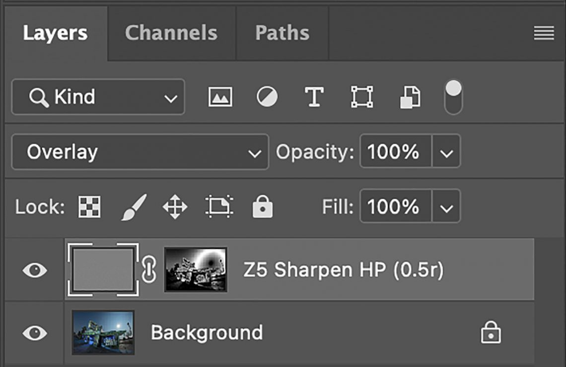 Layer mask - luminosity masking - used for sharpening (high-pass filter)