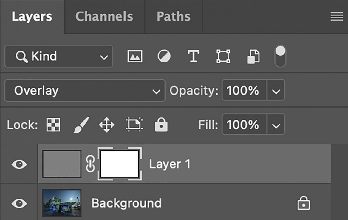 Layers Panel. Showing the new Layer Mask after applying the High Pass Filter.