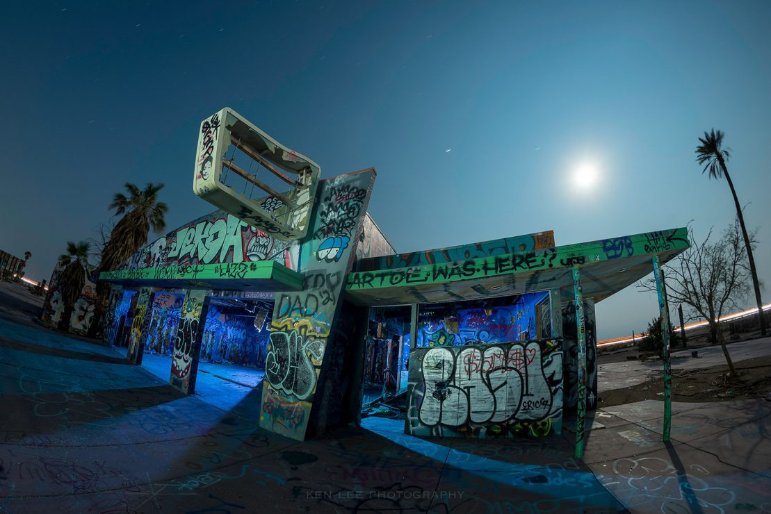 A night photo of an abandoned waterpark in California, sharpened using Photoshop's High Pass Filter