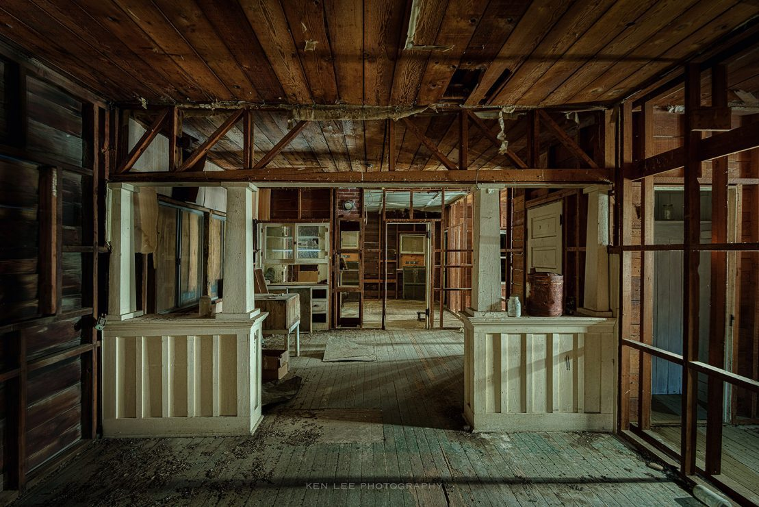 This is the interior of the farmhouse, photographed in almost total darkness at night in this long exposure photo.