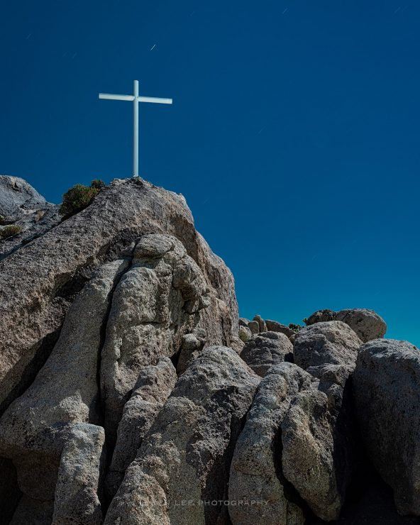 The Mojave Memorial Cross, just off Cima Road, in the Mojave National Preserve.