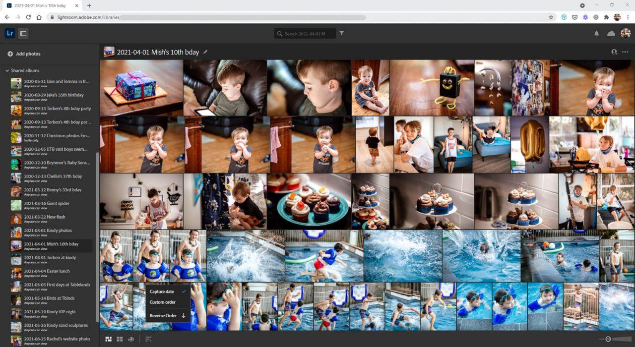 Screenshot Lightroom for web